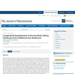 Longitudinal Development of Human Brain Wiring Continues from Childhood into Adulthood