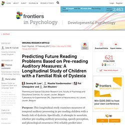 Predicting Future Reading Problems Based on Pre-reading Auditory Measures: A Longitudinal Study of Children with a Familial Risk of Dyslexia