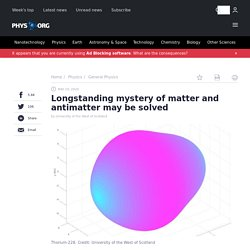 Longstanding mystery of matter and antimatter may be solved