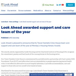 Look Ahead awarded support and care team of the year - Look Ahead
