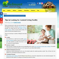 Tips in Looking for Assisted Living Facility