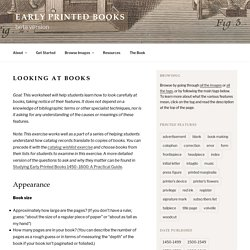 Looking at books – Early Printed Books
