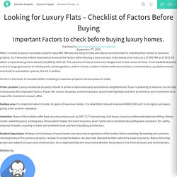 Looking for Luxury Flats – Checklist of Factors Before Buying