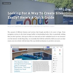 Looking For A Way To Create Sites Easily? Here's A Quick Guide