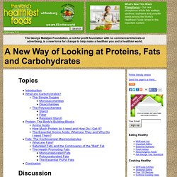 A New Way of Looking at Proteins, Fats and Carbohydrates
