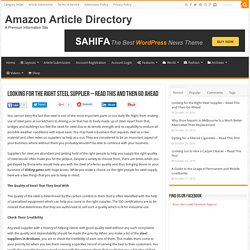 Looking for the Right Steel Supplier – Read This and Then Go Ahead – Amazon Article Directory