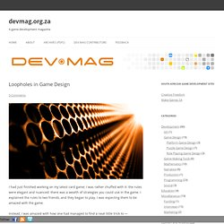 Loopholes in Game Design » devmag.org.za