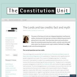 The Lords and tax credits: fact and myth