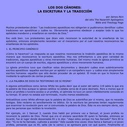 LOS DOS C�NONES: LA ESCRITURA Y LA TRADICI�N