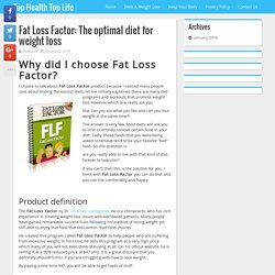 Fat Loss Factor: The optimal diet for weight loss