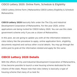 CIDCO Lottery 2020: Online Form, Schedule & Eligibility