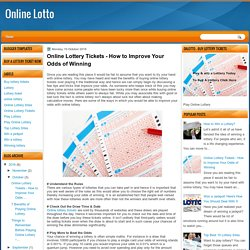 Online Lottery Tickets - How to Improve Your Odds of Winning