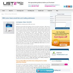 IBM Lotus Notes CRM Users Email and Mailing List