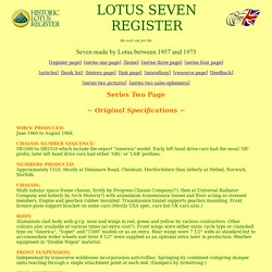 Lotus Seven Register - Series Two Page