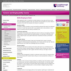 Loughborough University - Careers Centre - Advice and guidance - Applying for jobs - Skills
