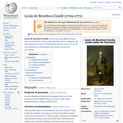 Louis de Bourbon- Condé (1709-1771) Grand-Maître Grand Orient de Paris