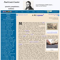 Paul-Louis Courier - Lettre à M. Lejeune du 23 avril 1805