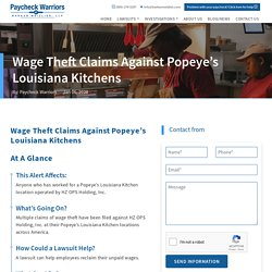 Wage Theft Investigations Against Popeye's Louisiana Kitchens