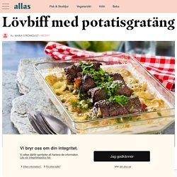 Lövbiffsrulader på potatisgratäng