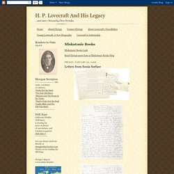 H. P. Lovecraft And His Legacy: Letters from Sonia Surface