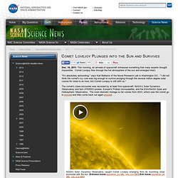 Comet Lovejoy Plunges into the Sun and Survives - NASA Science - Iceweasel