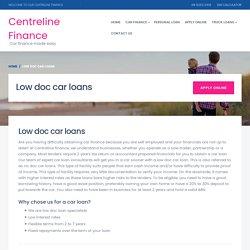 Low doc car loans - Centreline finance