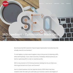 SEO Lowdown – Optimisation Made Easy