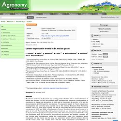 Agron. Sustain. Dev. Volume 30, Number 4, October-December 2010 Lower mycotoxin levels in Bt maize grain