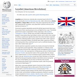 Loyalist (American Revolution) - Wikipedia