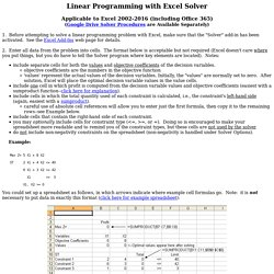 LP with Solver