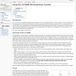 Using the LS7366R SPI Quadrature Counter