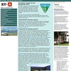 LTVA And Bureau of Land Management (BLM) RV Camping
