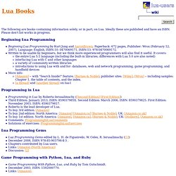 Programming - lua-users wiki: Lua Books