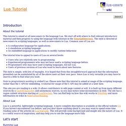 wiki: Lua Tutorial
