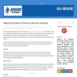Making the Most of Onsite Lubricant Analysis