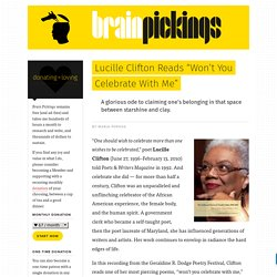 "Lucille Clifton Reads ""Won't You Celebrate With Me"""