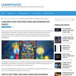 Ludo King Hack 2020 Free Coins and Diamonds No Survey
