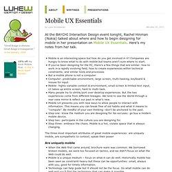 Mobile UX Essentials