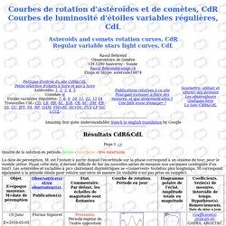 CdR&CdL: Courbe de rotation et luminosité d'astéroïdes, de comètes et d'étoiles variables