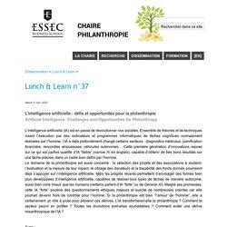 Lunch & Learn n°37 - Chaire Philanthropie