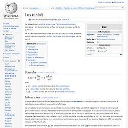 Wikipédia - Qu'est ce que le Lux ? (unité)