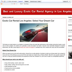 Best and Luxury Exotic Car Rental Agency in Los Angeles: Exotic Car Rental Los Angeles: Select Your Dream Car