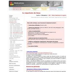 Lycée > Première > OE : Texte théâtral et représ.