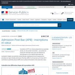Lycéens -Admission Post Bac (APB): inscriptions et vœux