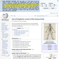 List of lymphatic vessels of the human body