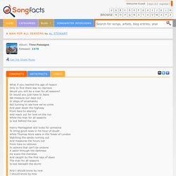 "Lyrics for ""A Man For All Seasons"" by Al Stewart"
