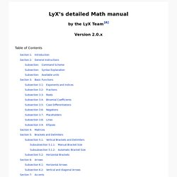 LyX's detailed Math manual