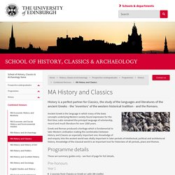 MA History and Classics