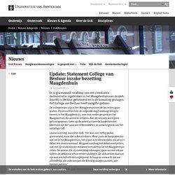 Update: Statement College van Bestuur inzake bezetting Maagdenhuis