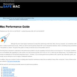 The Safe Mac » Mac Performance Guide